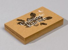 Unbleached business card with traditional, botanical illustrative detail and a white ink print finish designed by Swear Words for high-end café/wine bar Crabapple Kitchen. Design Social, Graphic Design Inspiration, Web Design Studio, Graphic Design Studios, Branding Agency, Logo Branding, Kitchen Logo, Kitchen Design, Business Cards