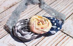 Dotfully Yours triple rosette headband in grey by SoTweetDesigns