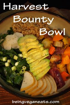 Autumn is the perfect time to celebrate the full bounty the earth has provided us. Throughout history people have celebrated the autumn harvest with festivals and bounties of delicious vegetables. Our celebration comes in the form of this Harvest Bounty Bowl. This is sure to satisfy and nourish you to the core. We threw everything in here but the kitchen sink. The flavors blend so well together with half being warm roasted veggies and the other half being cool and raw.