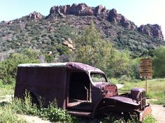 At Malibu Creek Canyon...that rusty car is what's left of the movie set of Mash...