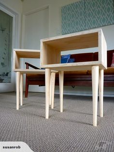 Bedside tables. Plywood with simple turned legs
