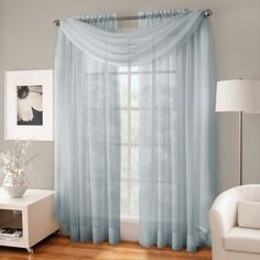Crushed Voile Platinum Collection Sheer Rod Pocket Window Curtain Panels - www.BedBathandBeyond.com