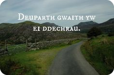 """(Starting the work is two-thirds of it). And I say that """"Tair gwaith gwaeth yw ei ail ddechrau!"""" (Three times worse it to re-start work). It works better in Welsh! Welsh Sayings, Welsh Words, Wales Language, Learn Welsh, Celtic Words, Saint David's Day, Wales Uk, Knowledge And Wisdom, Cymru"""