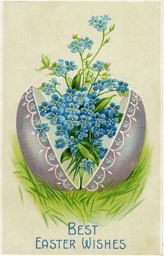 Today I'm sharing this pretty Easter Egg with Flowers Image!  Shown above is an Antique Easter Postcard with a pretty Silvery Gray Egg, that has Forget Me Not Flowers bursting out of it!  This is such a lovely Vintage Image! Perfect for your Handmade Easter Cards or Craft Projects.   For more charming Easter Graphics be …