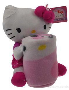 Hello Kitty Throw Pillow Set Hugger Plush Blanket Soft Cuddly Stuffed Animal NEW