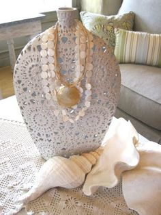 mod podge lace to a large bottle & use for necklace display