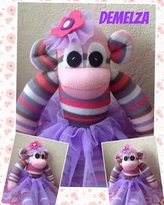 One of my favourite tutu monkeys love the colour #tutu #demelza #sockmonkeys #handmade #sewing #love #sunnyteddys