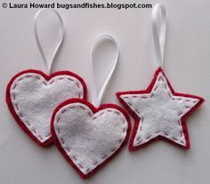 Felt Ornament How-To #1: Stars and Hearts ~ Beginner hand sewing for the kids