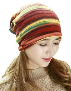 074b1b937b6 Qiabao Doublelayer Rainbow Print Skull Beanie Cap Hat for Women red     Visit the image