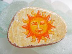 Bright sun face brooch hand painted Italian sea pottery by Alienstoatdesigns, £9.00