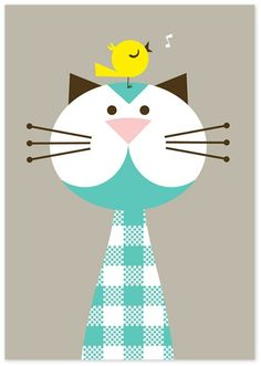 Ingela, aqua kitty has a bird