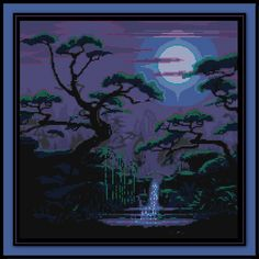 Japanese Moonlit Spring Cross Stitch Pattern Asian River Forest Landscape by SpriteStitches on Etsy