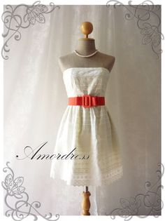 Sexy Sweet Cream Lace Dress Princess Lacy Strapless Summer Lace Dress Party Prom Wedding Birthday Anniversary Dress -S-M- SALE TODAY. $39.00, via Etsy.