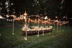 kolacja-zalando #wedding #table #forest #outside #rustic #candles #flowers