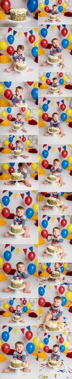 Carnival Cake Smash | Holly Schaeffer Photography | Cake Smash Photographer yellow blue red