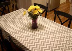 54 x 84 Grey and  White Chevron Table Cloth  Weddings Nautical Holidays Home Decor Buffet Server/Table Runner -Customizable. $42.00, via Etsy.