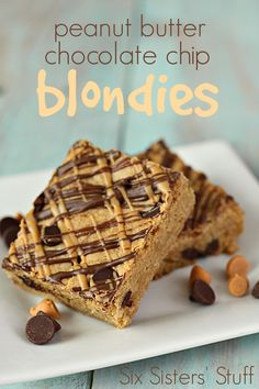 Peanut Butter Chocolate Chip Blondies from SixSistersStuff.com- they are like a thick, chewy cookie! So delicious!