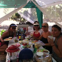 Gourmet sandwich with friends while camping