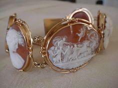 Antique Exquisite 5 Large Shell Cameo Bracelet | eBay