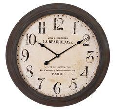 Reloj de Pared Redondo en Metal Negro Crema 7 x 66 x 66 cm