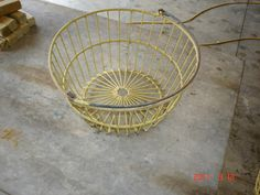 antique wire basket for collecting eggs