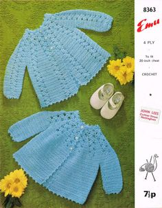 Emu 8363 two designs baby matinee coat vintage crochet pattern PDF instant download on Etsy, $1.63