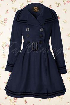 Bunny - 50s Millie Swing Winter Coat in Navy