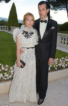 Classy couple: Musician Mark Ronson took along his beautiful wife Josephine de la Baume, who wore a stunning lace gown