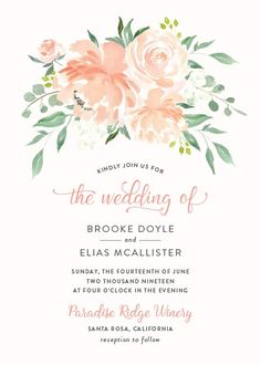 Romantic florals wedding invitations with peach flowers and lovely greenery