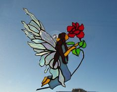 Stained Glass Fairy With Rose by Conijash on Etsy