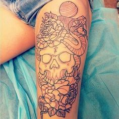 Love this traditional skull snake and flower tattoo