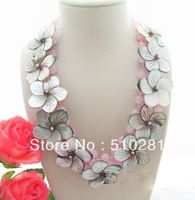 Free ship !!! amazing pink quartz shell flower chain necklace