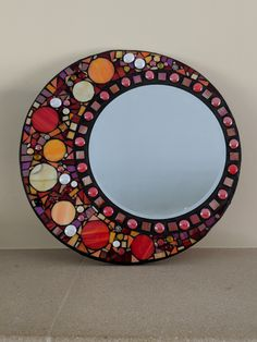 Items similar to Stained glass mirror, mosaic mirror, circular stained glass mosaic,wall hanging mirror in red on Etsy - Art Station 2020 Mosaic Tile Art, Mosaic Artwork, Mirror Mosaic, Mosaic Diy, Mosaic Crafts, Mosaic Projects, Mosaic Glass, Stained Glass Mirror, Mosaic Furniture