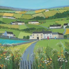 Art Group Green Fields by Janet Bell Painting Print on Canvas