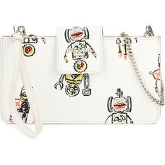 Prada Saffiano Robot Clutch Bag w/Chain Strap ($580) ❤ liked on Polyvore featuring bags, handbags, clutches, white, chain strap purse, prada clutches, white clutches, prada and chain handle purses