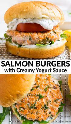 Salmon Burger Toppings, Healthy Salmon Burgers, Sauce For Salmon Burgers, Salmon Recipes, Seafood Recipes, Cooking Recipes, Healthy Recipes, Bariatric Recipes, Yogurt Recipes