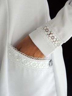 New Dress White Lace Fashion Details Ideas Kurti Sleeves Design, Sleeves Designs For Dresses, Sleeve Designs, Sewing Clothes, Diy Clothes, Clothes For Women, Kurta Designs, Blouse Designs, Costura Fashion
