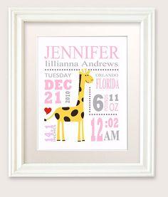 Baby Birth Announcement , Giraffe Nursery Theme, Baby Girl Birth Statistics…