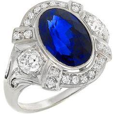 Antique 4.49ct Sapphire 1.05ct Diamond Ring
