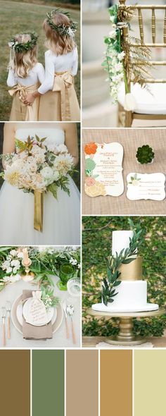 elegant green and gold fall wedding ideas