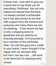 A lovely message to get from one of our hard working clients.  Facebook: ProFitness Gym  Instagram: @profitnessgyms  ProFitness.ie  Info@profitness.ie