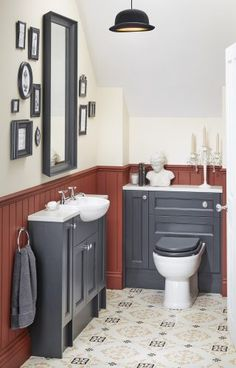 Modern Victoriana reduced-depth vanity and WC units from Utopia's Roseberry fitted bathroom range. Small Bathroom With Shower, Fitted Bathroom, Bathroom Design Small, Bathroom Ideas, Dream Bathrooms, Small Bathrooms, Cloakroom Basin, Shower Rooms, Bath Shower