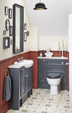 Modern Victoriana reduced-depth vanity and WC units from Utopia's Roseberry fitted bathroom range. White Bathroom Cabinets, Bathroom Vanity Makeover, Diy Bathroom Decor, Bathroom Layout, Bathroom Styling, Bathroom Ideas, Bathroom Organization, Contemporary Bathroom Designs, Bathroom Design Luxury