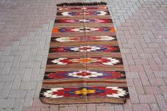 Kilims From Turkey Vintage Natural Wool Turkish Kilim Rug Carpet 42 '' x 78 '' - 107 x 179 cm Natural Fiber Rugs, Kilims, Turkish Kilim Rugs, Navajo, Rugs On Carpet, Bohemian Rug, Turkey, Textiles, Quilts
