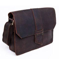 """Image of Vintage Handmade Antique Crazy Horse Leather Messenger Bag / 11"""" MacBook Satchel / iPad Bag(z12)"""