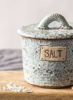 Pottery salt cellar, Ceramic light blue receptacle, Lidded salt canister, Housewarming gift, Pottery – In-house Factory Ceramic Light, Ceramic Jars, Ceramic Pottery, Pottery Art, Slab Pottery, Pottery Bowls, Kitchen Jars, Kitchen Ideas, Pottery Classes