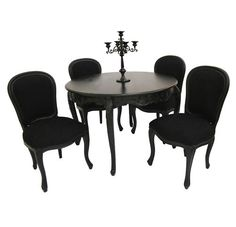 French Style Furniture Black Dining Room Table And 4 Chairs Designer Gothic