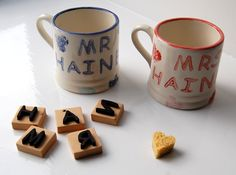 Pottery painted Mr and Mrs Mugs.  DIY craft handpainted wedding, marriage gift idea.  Personalised or customised wedding present.
