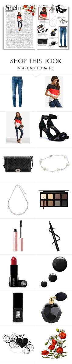 """Shein Contest"" by danielle8474 ❤ liked on Polyvore featuring Frame, Yves Saint Laurent, Chanel, Belk & Co., John Lewis, Down to Earth, Too Faced Cosmetics, Topshop, JINsoon and Diptyque"