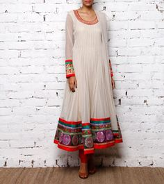 Ivory Net Anarkali Suit